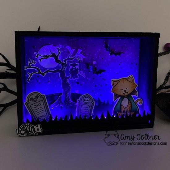 Count Newton Stamp and Die Set, Spooky Street Stamp Set, Spooky Skeletons Stamp Set, Land Borders Die Set, Halloween Trio Die Set, Peppermint Die Set by Newton's Nook Designs #newtonsnook #handmade