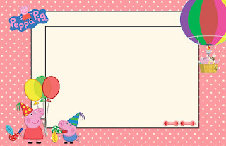 Peppa Pig and Family, Free Printable Invitations, Labels or Cards.