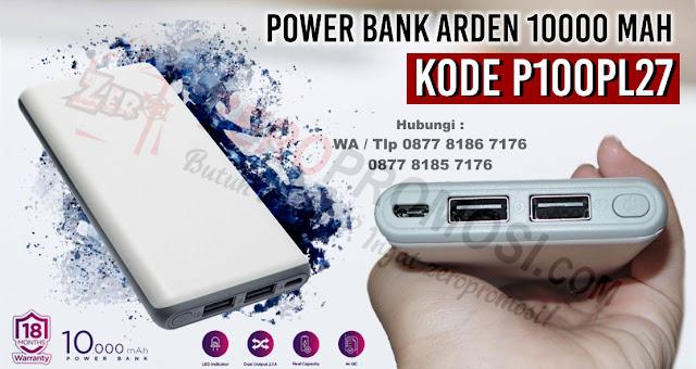 Souvenir Power Bank Arden 10000 mAh Kode P100PL27 - Powerbank Promosi