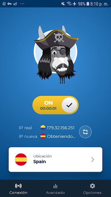 CONECTADO A ESPAÑA CON HMA VPN