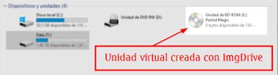 Programa para montar y explorar archivos de imagen de disco que permite crear hasta siete unidades virtuales