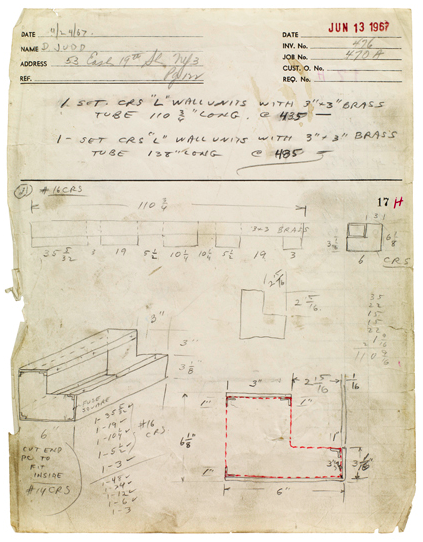 drawing Donald Judd  Bernstein Bros. Fabrication drawing job #470a, 1967 pen and pencil on off white paper