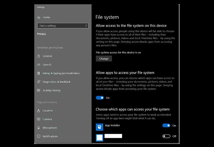configuración de permisos de la aplicación de Windows 10