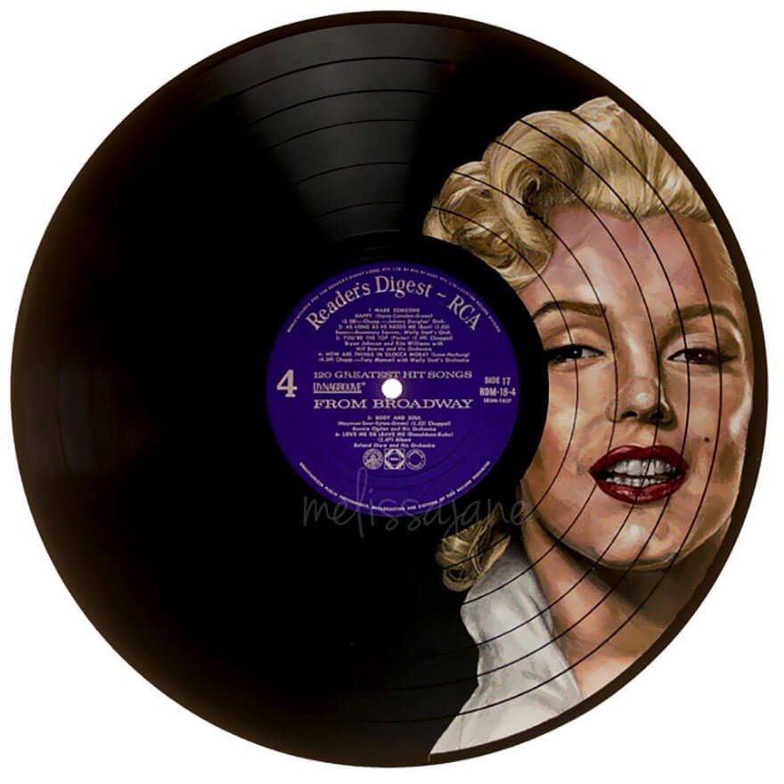03-Marilyn-Monroe-Melissa-Jane-Celebrity-Portrait-Drawings-On-Used-Vinyl-Records-www-designstack-co