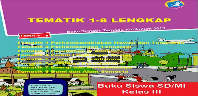 Materi Buku Kelas 3 Tematik 1-8 Lengkap Kurikulum 2013