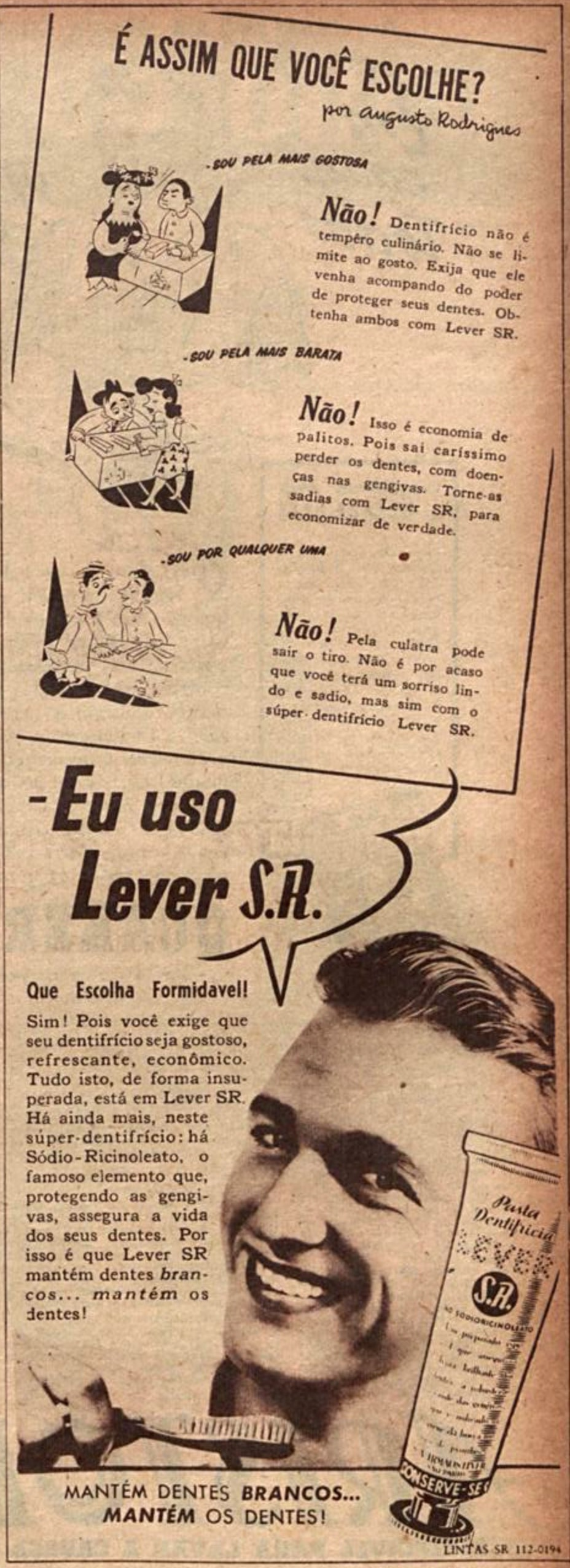 Propaganda antiga veiculada em 1944 promovendo a pasta dentifrícia Lever S.R.