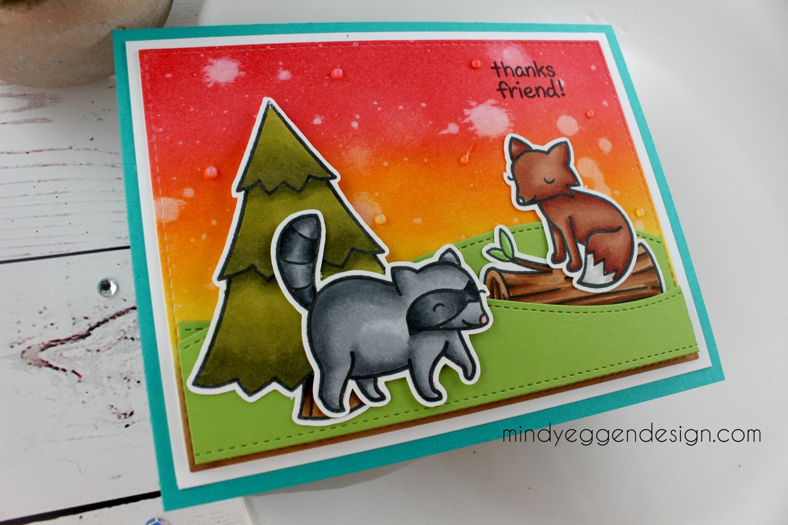 The Sentiment Is Also From Critters In Forest Stamp Set And I Stamped That With Versafine Ink