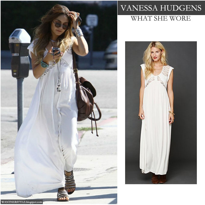 4bde1278b5f Vanessa Hudgens in white maxi dress with crochet detailing from Free People  - Want Her Style. WHO: Vanessa Hudgens in Los Angeles on September 15 2013