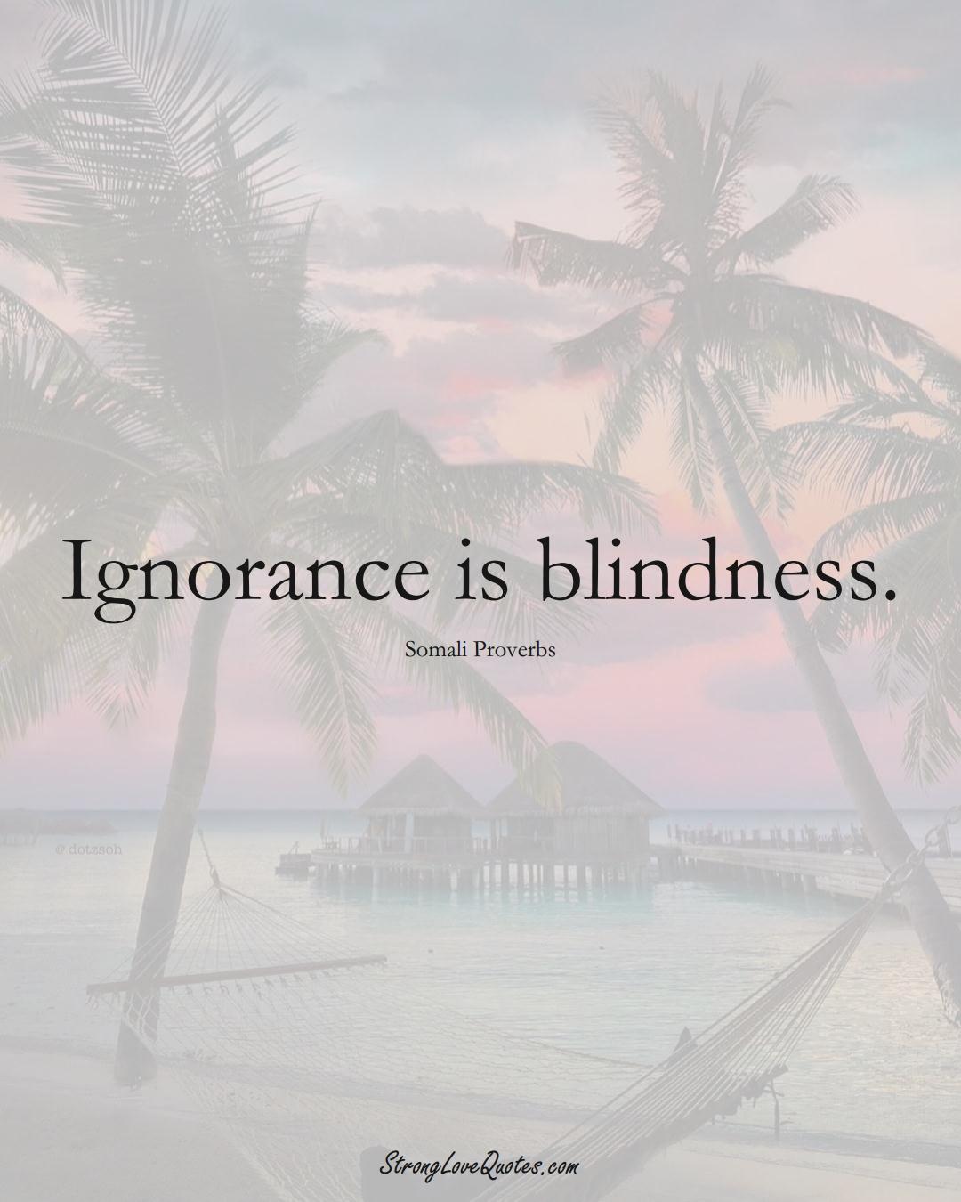 Ignorance is blindness. (Somali Sayings);  #AfricanSayings