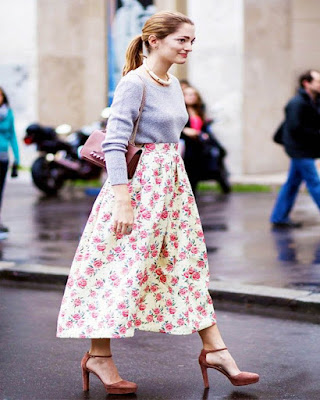 outfits midi skirts flowers