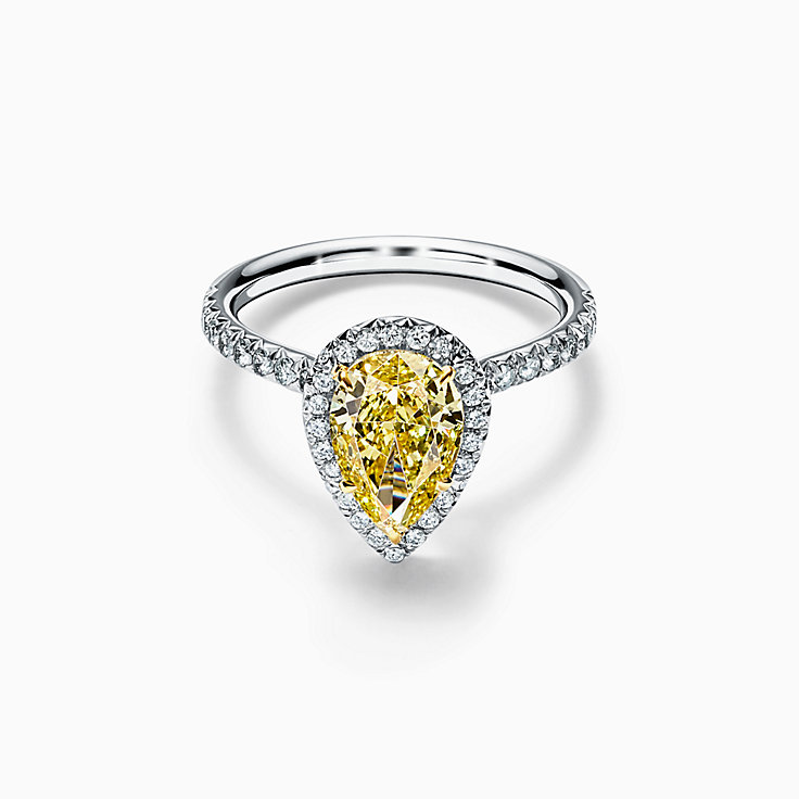 Tiffany Soleste® Pear-shaped Halo Engagement Ring with a Diamond Band in Platinum