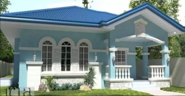 sky blue colour house outside