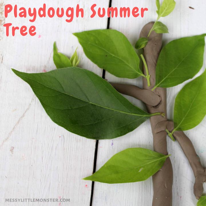 nature playdough activity for kids