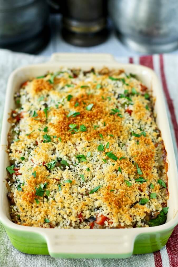 Wild Rice and Broccoli Casserole after baking