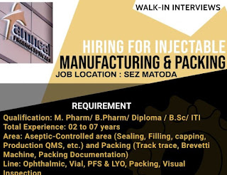 Amneal Pharmaceuticals Pvt. Ltd Walk in Interview on 19th June, 2021(Saturday) for Manufacturing Operators/Officer/Sr. Officer/Executive Position