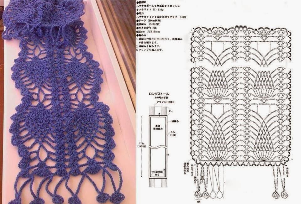 Hermosa Bufanda Voluminosos Patrón De Crochet Bosquejo - Manta de ...