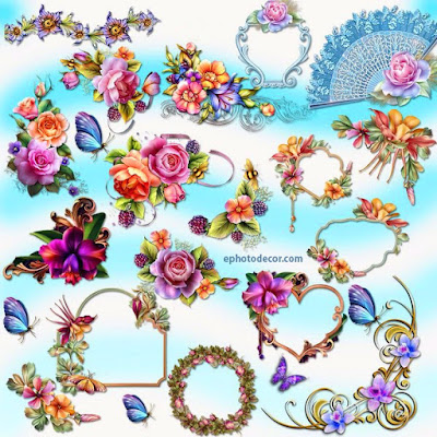 Decorated flower clusters clipart