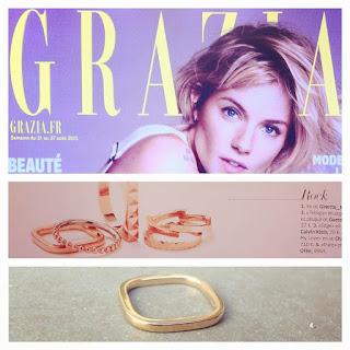 Parution Grazia - Ginette NY bague carrée dans les bijoux rock de la semaine !