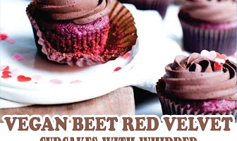 VEGAN BEET RED VELVET CUPCAKES WITH WHIPPED CHOCOLATE GANACHE