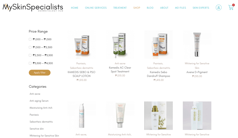 Some of the products available on their website