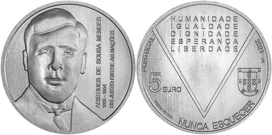 Portugal 5 euro 2021 - Aristides de Sousa Mendes