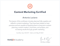 content marketing certificazione hubspot