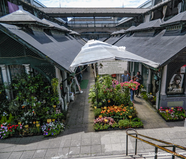 Bancas de flores no Mercado do Bolhão, Porto, Portugal