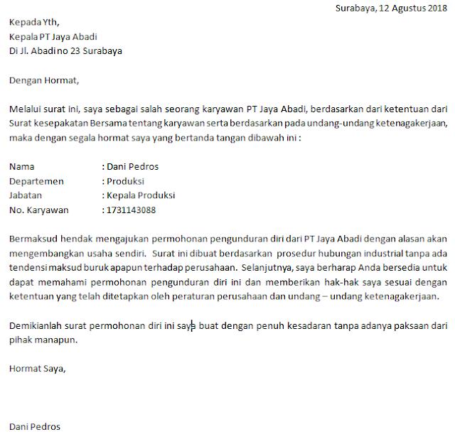contoh surat pengunduran diri resmi