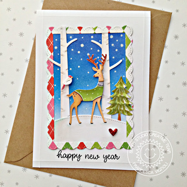 sunny studio stamps rustic winter woodland borders fancy frames happy thoughts happy new years card