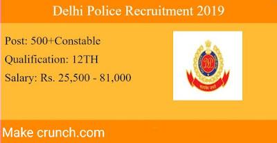 क्या आप सरकारी नौकरी के तलास में है तो दिल्ली पुलिस लाये है आप के लिए एक सुनहरा मौका पुलिस में काम करने के लिए ।अगर आप इसमें interested है तो नीचे दी गई जानकारी को ध्यान से देखे ।   DELHI POLICE RECRUITMENT 2019(SALLARY 25500---81100)     Post name---- Head constable (clerk)    Educational qualification---- 12th pass    Job location----Delhi    Sallary---25000 to 81100/level 4    Application fees----    For gen/OBC/EWS--100    FOR SC/ST/FEMALE---- NO FEES    Selection process---- online test, physical test,typing test.    APPLY NOW OR VISIT OFFICIAL WEBSITE    https://www.delhipolice.nic.in/recruitment.html    अगर आपके पास कोई सबाल है तो आप हमे कमेन्ट बॉक्स में पूछ सकते हैं ,हुम् कोसिस करेंगे आपके सबाल का उत्तर दिया जाए ।