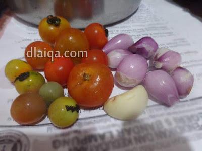 rampai, tomat, bawang putih, bawang merah