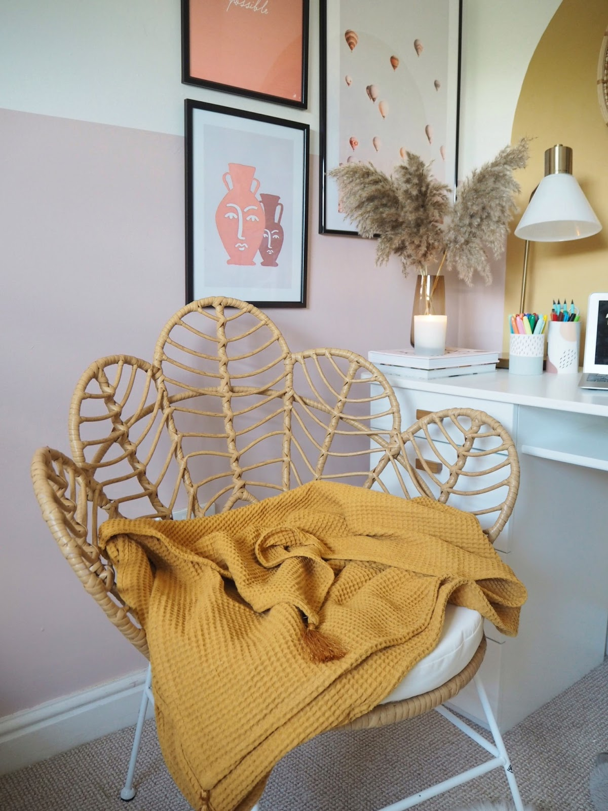 Boho style home office makeover, how to transform a messy spare bedroom into an inspirational home office study room workspace. Including how to declutter, and how to hand paint a colour blocking arch onto your wall. Pink and mustard yellow boho style home office.