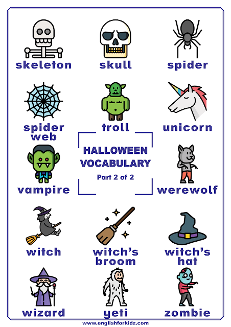 Halloween vocabulary poster featuring Halloween words for ESL classes