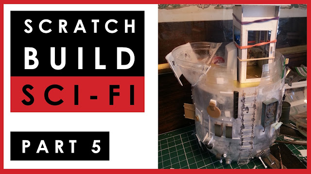 scratch building a 1/35 scale model science fiction anti-gravity ship - video Part 5
