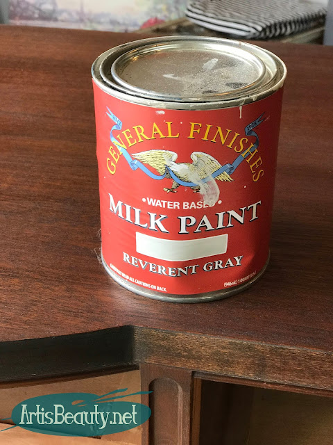 General finishes Reverent Gray Milk Paint for vintage buffet makeover