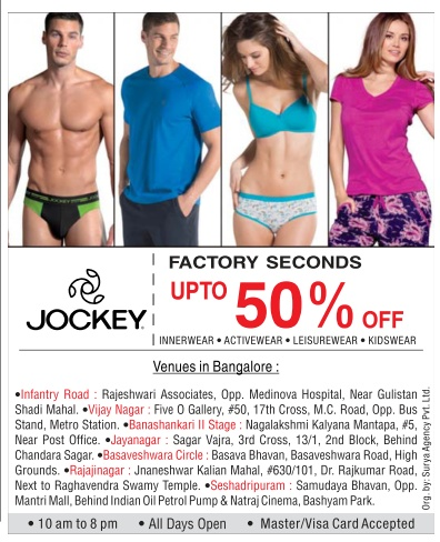 Jockey factory seconds sale - up to 50% off @ Bangalore (Bengaluru) | August 2016 discount offer