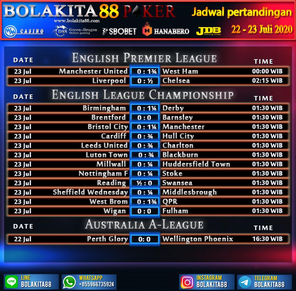 Jadwal Pertandingan Sepak Bola 22 - 23 Juli 2020 | BolaKita 88