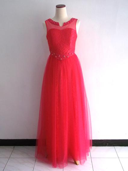 Gaun Pesta Panjang Merah Brokat Tile
