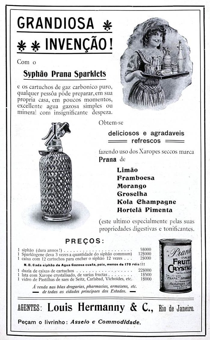 Propaganda antiga de sifão de água gasosa com xapores aromatizantes em 1908