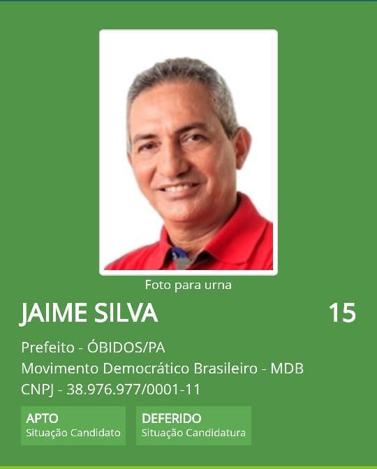 Justiça eleitoral defere candidatura do candidato do MDB Jaime Silva em Óbidos. A coligação impugnante irá recorrer