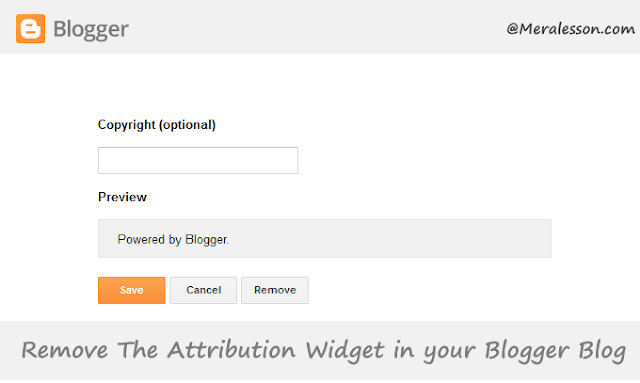 how delete blogger copyright text in blogger