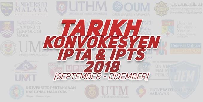 Tarikh Konvokesyen Universiti Awam Untuk Tahun 2018