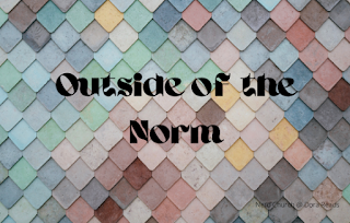 'Outside of the Norm' in fancy writing on a multi-coloured tile background