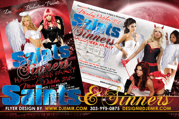 Saints and Sinners Devils And Angels Halloween Flyer design