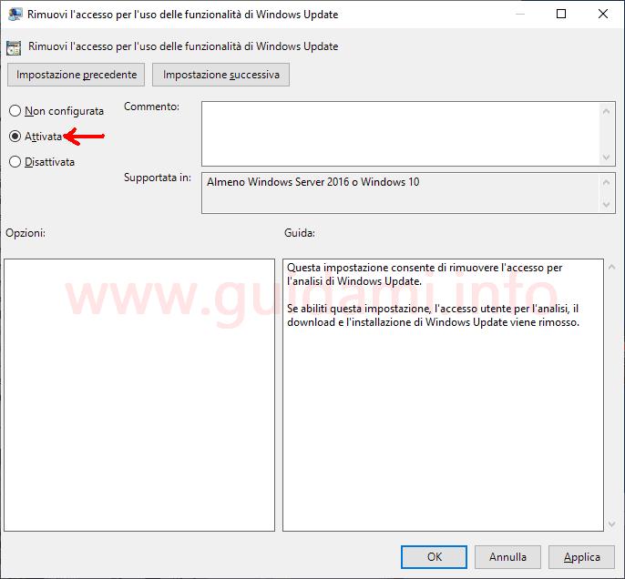 Impostazione Editor Criteri di gruppo locali Windows 10