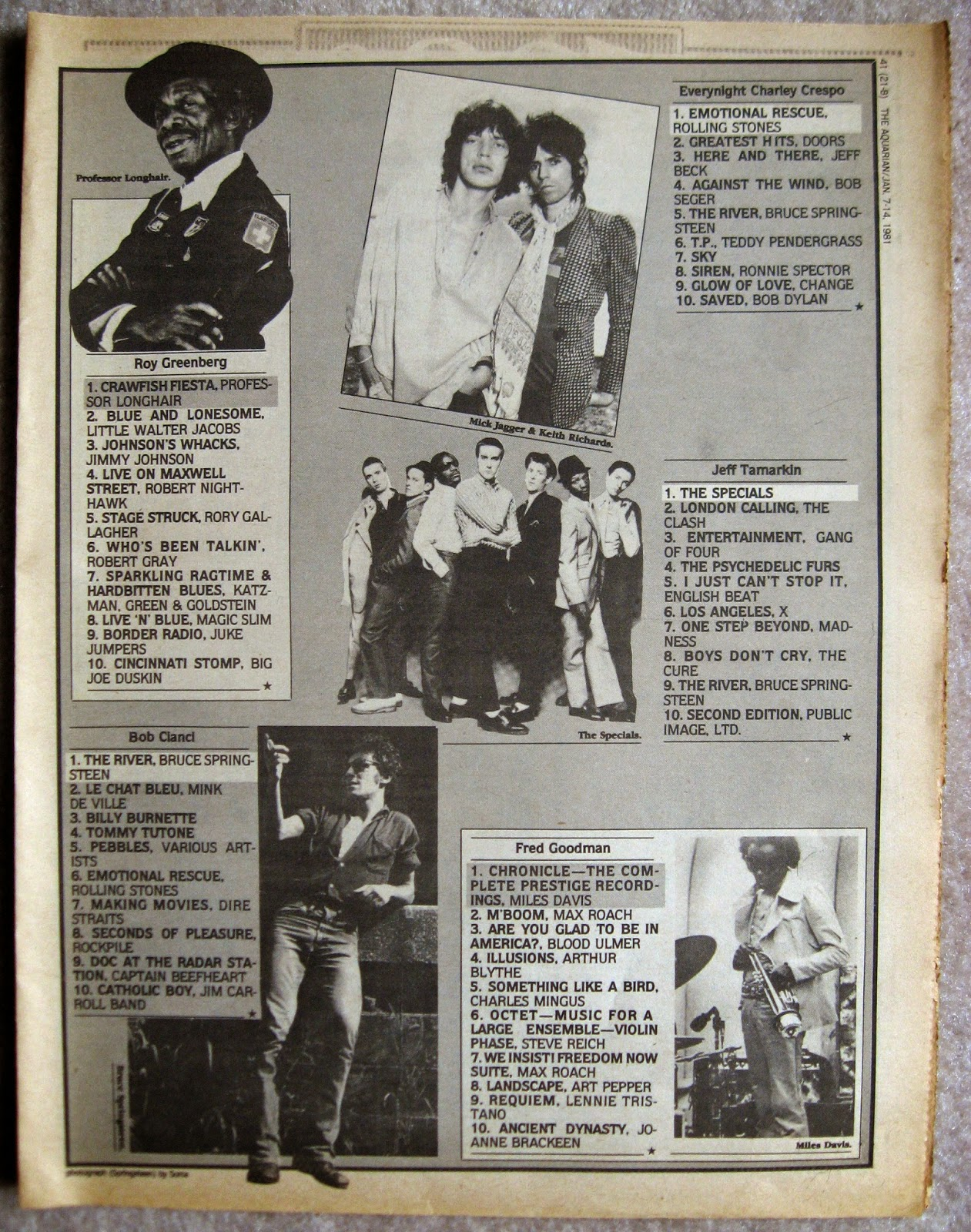 1980 top albums of the year... part 2 Aquarian Night Owl January 1981