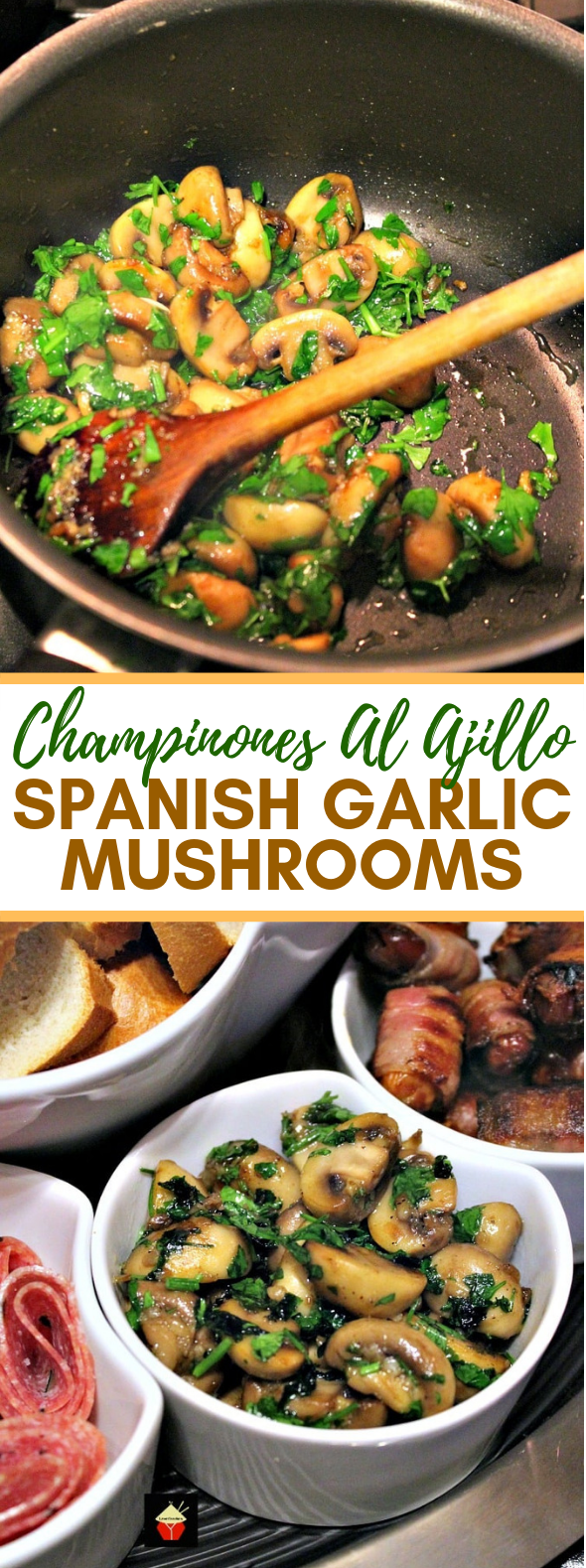 CHAMPINONES AL AJILLO, SPANISH GARLIC MUSHROOMS #dinner #partyfood