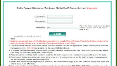 IDBI Bank Customer ID through online