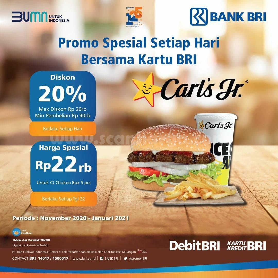 Promo Carls Jr Diskon 20% + Harga Spesial CJ Rp 22Rb Setiap Hari Bersama Kartu BRI