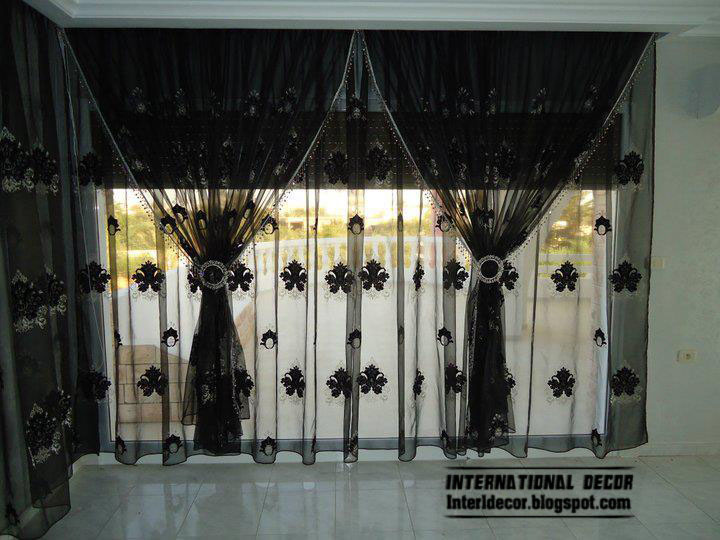 Black Design Of Curtain Style For Living Room Decoration